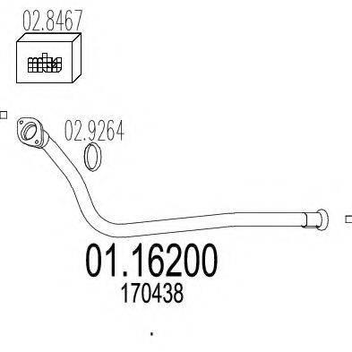 Труба выхлопного газа MTS 01.16200