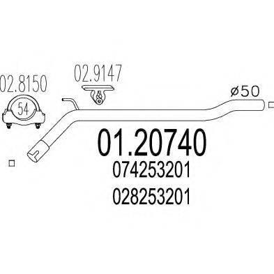 Труба выхлопного газа MTS 01.20740