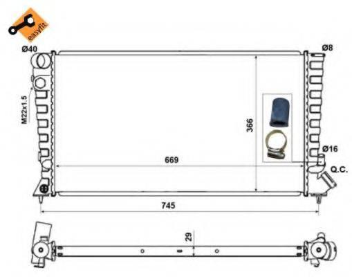 Радиатор, охлаждение двигателя NRF 58189
